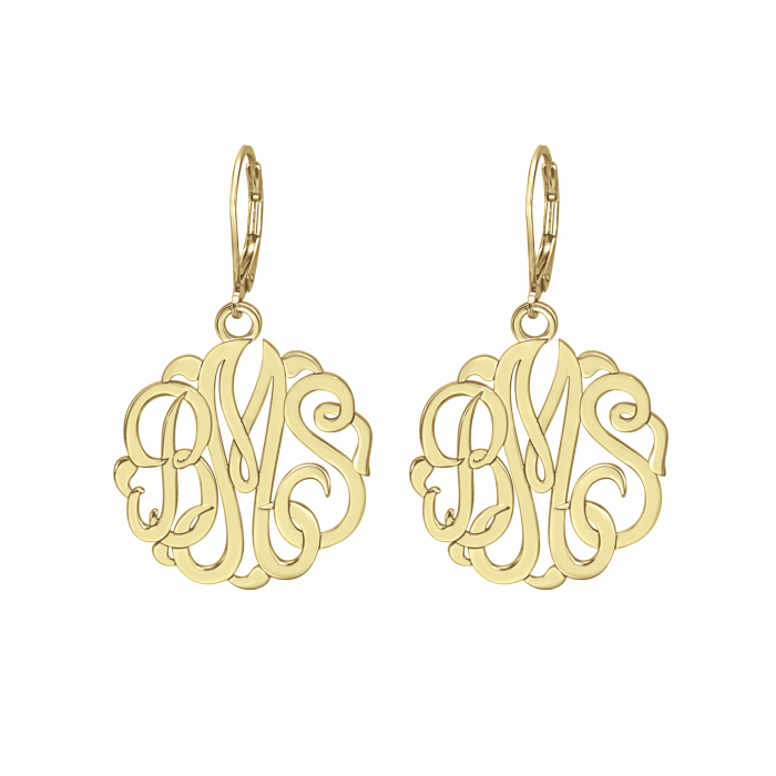 script monogrammed products be monogram fancy plated gold earrings