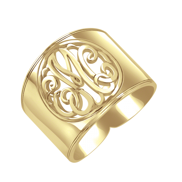 classic cutout cigar band monogram ring 18mm personalized