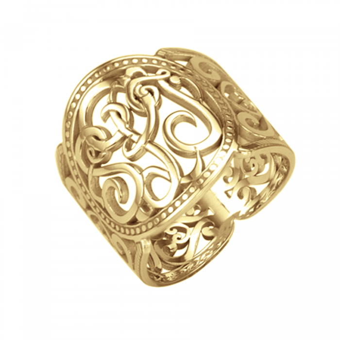 Ivy Scroll Bands: Classic Cigar Band Ring 18mm Personalized Jewelry