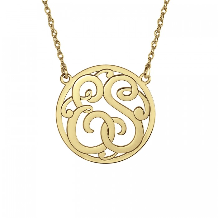 classic two initial monogram necklace