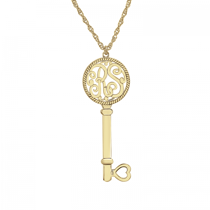 two initial key pendant 42x16mm personalized jewelry