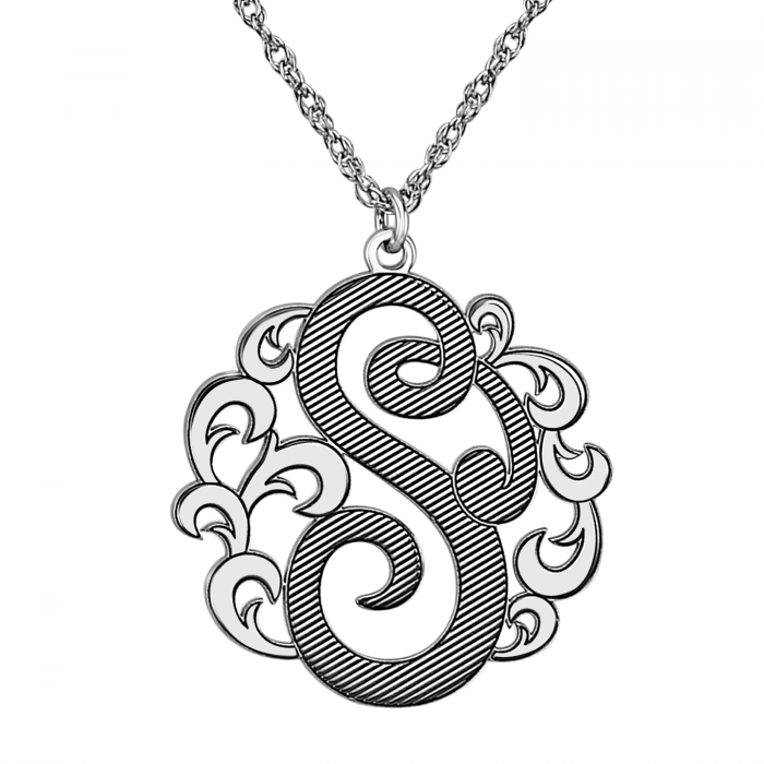 Single Cutout Decorative Initial Pendant 25mm Personalized