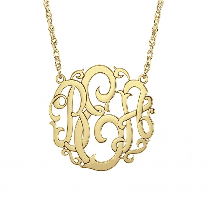 Large Scripted Monogram Necklace 40mm Personalized Jewelry