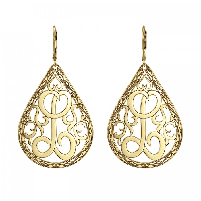 single initial monogram earrings 42x30mm personalized jewelry