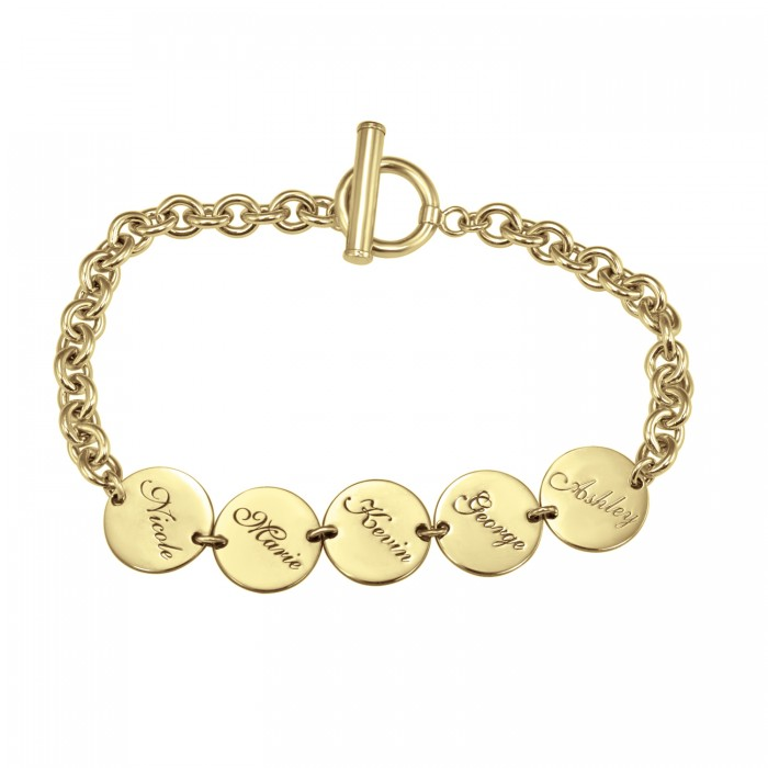 Round Dangle Family Name Bracelet Personalized Jewelry
