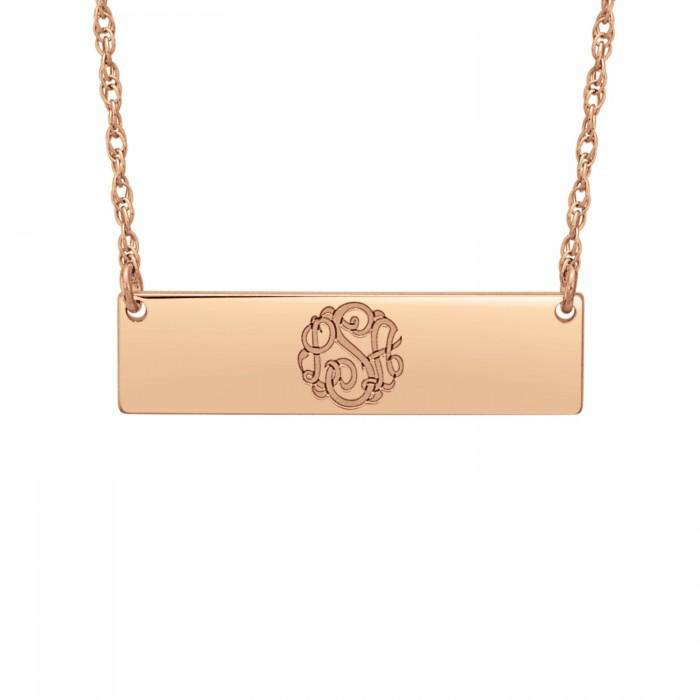 initials bar necklace 8x30mm