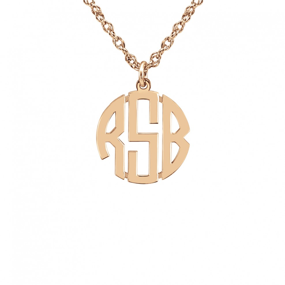 Mini Block Monogram Pendant 10mm