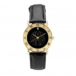 Ladies Black Dial Block Outline Monogram Gold-tone Watch 32mm
