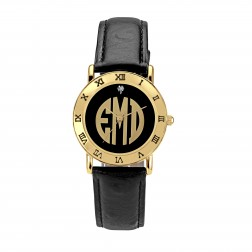 Ladies Black Dial Block Monogram Gold-tone Watch 32mm