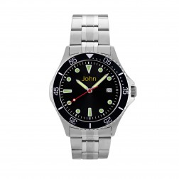 Gents Black and Silver Stainless Steel Watch 42mm