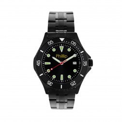 Gents Black Stainless Steel Watch 42mm