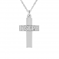 Small Cross Name Pendant 26x17mm