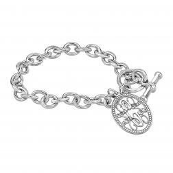 Bordered Traditional Monogram Toggle Bracelet 24x17mm