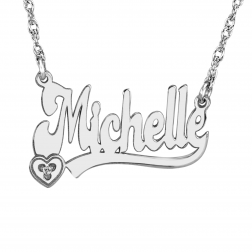 Name Necklace with Diamond Accent (13x22mm)