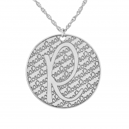 Initial Pendant with Recessed Pattern 30mm