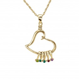 Family Birthstone Heart Necklace 38x24mm