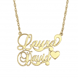 Couples Scroll Heart Necklace