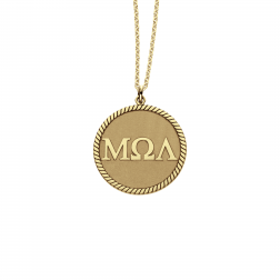 Greek Letters Disc Pendant 20mm