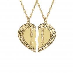 Textured Half Hearts Necklace 24x25mm