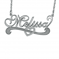 Heart Scroll Name Necklace