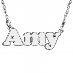 Outlined Bubble Name Necklace (10x26mm)