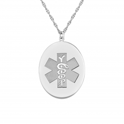 Oval Medical and Health Alert Pendant 22x27mm