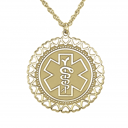 Medical and Health Alert Hearts Necklace 26mm