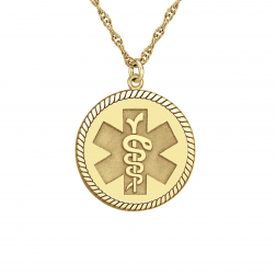 Round Medical and Health Alert Pendant 20mm