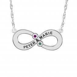 Couples Infinity Necklace with Birthstones 11x25mm