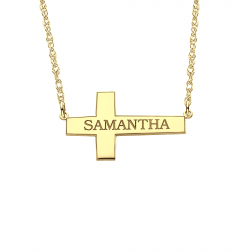 Sideway Cross Name Necklace 16x28mm