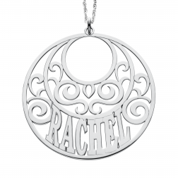 Round Scroll Name Pendant 45mm