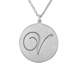 Brushed Initial Pendant 20mm