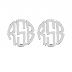 Block Monogram Stud Earrings 20mm