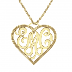 Classic Heart Monogram Pendant 28x31mm