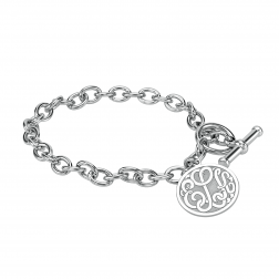 Classic Recessed Bordered Monogram Toggle Bracelet 20mm
