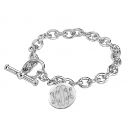 Traditional Monogram disc Toggle Bracelet 16mm