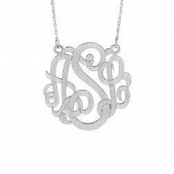 Brushed Classic Monogram Necklace