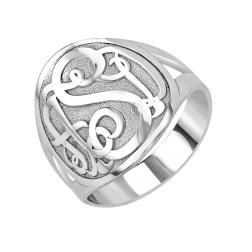 Classic Recessed Monogram Ring 18mm
