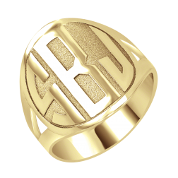 Block Recessed Monogram Ring 18mm