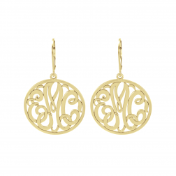 Classic Bordered Monogram Leverback Earrings 25mm