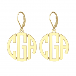 Block Monogram Leverback Earrings 25mm