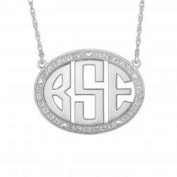 Block Bordered Oval Monogram Necklace 25x32mm