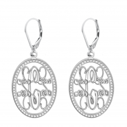 Traditional Oval Monogram Leverback Earrings 23x16mm
