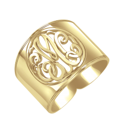 Classic Cutout Cigar Band Monogram Ring 18mm