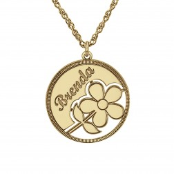 Circle Flower Girl Pendant 20mm