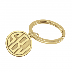 Monogram Round Keychain Three Initials Pendant (20mm)