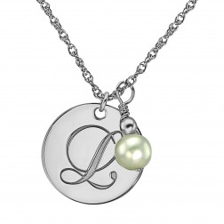 Single Initial Pearl Bridesmaid Pendant 18mm