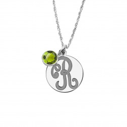 Monogram Initial Pendant with Colored Stone 15mm