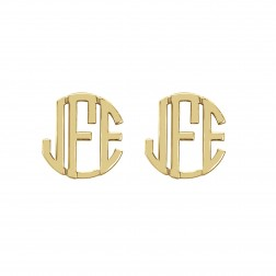 Block Monogram Stud Earrings 10mm