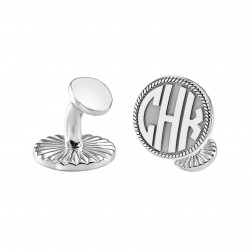 Round Block Monogram Rope Casting Cufflinks 16.5mm